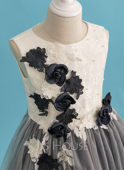 A-Line Knee-length Flower Girl Dress - Tulle/Lace Sleeveless Scoop Neck With Beading/Flower(s)