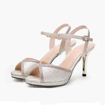 Women's Real Leather Stiletto Heel Sandals Peep Toe Slingbacks With Buckle Braided Strap shoes
