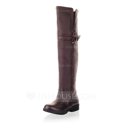 Leatherette Low Heel Closed Toe Over The Knee Boots With Buckle shoes