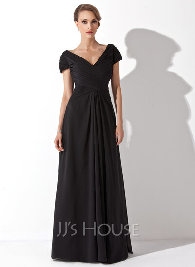 A-Line/Princess Off-the-Shoulder Floor-Length Chiffon Mother of the Bride Dress With Ruffle
