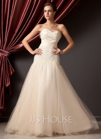 A-Line/Princess Sweetheart Floor-Length Tulle Quinceanera Dress With Ruffle Beading Bow(s)