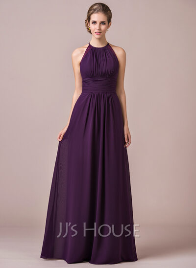 538a982eaba Chiffon Halter-neck Floor-length Bridesmaid Dress With Lace ...