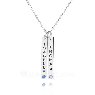 Christmas Gifts For Her - Custom Sterling Silver Name Double Birthstone Necklace Bar Necklace With Birthstone