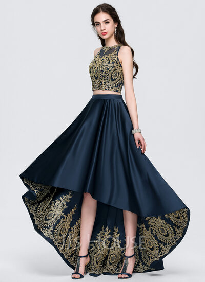 A-Line/Princess Scoop Neck Asymmetrical Satin Prom Dresses With Lace Beading