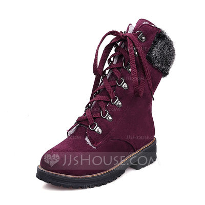 Women's Suede Low Heel Closed Toe Boots Mid-Calf Boots Snow Boots With Lace-up shoes