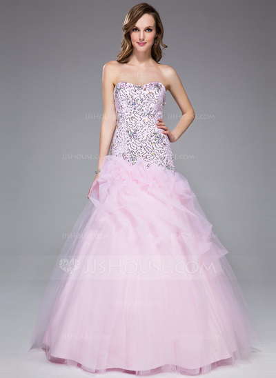 Trumpet/Mermaid Sweetheart Floor-Length Tulle Prom Dress With Beading Sequins Cascading Ruffles
