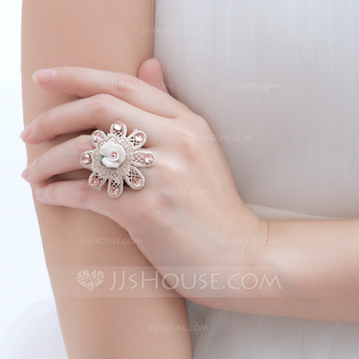 Flower Shaped Ceramic/Copper/Lace With Rhinestone Ladies' Rings