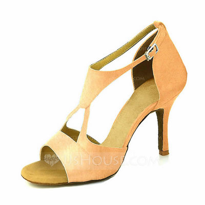 Women's Satin Heels Latin With Buckle Hollow-out Dance Shoes