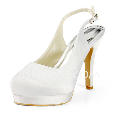 Women's Satin Cone Heel Platform Pumps Slingbacks With Buckle