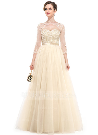 Ball-Gown Sweetheart Floor-Length Tulle Evening Dress With Beading Flower(s)