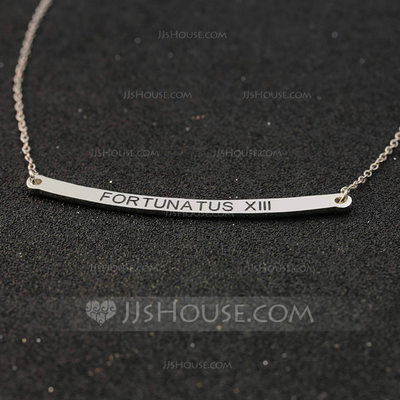 Personalized Ladies' Chic 925 Sterling Silver Engraved Necklaces For Bridesmaid/For Mother/For Couple
