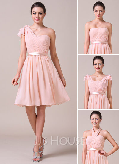 Sweetheart Knee-Length Chiffon Bridesmaid Dress