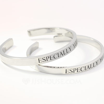 Personalized Ladies' Hottest 925 Sterling Silver With Round Engraved Bracelets Rings For Bridesmaid/For Friends/For Couple
