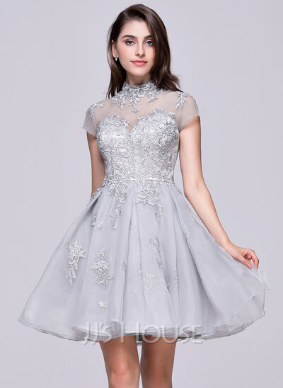 A-Line High Neck Short/Mini Organza Tulle Homecoming Dress With Appliques Lace