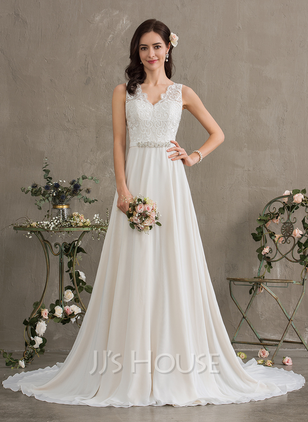 79930db5a39 A-Line V-neck Court Train Chiffon Wedding Dress With Beading Sequins ...