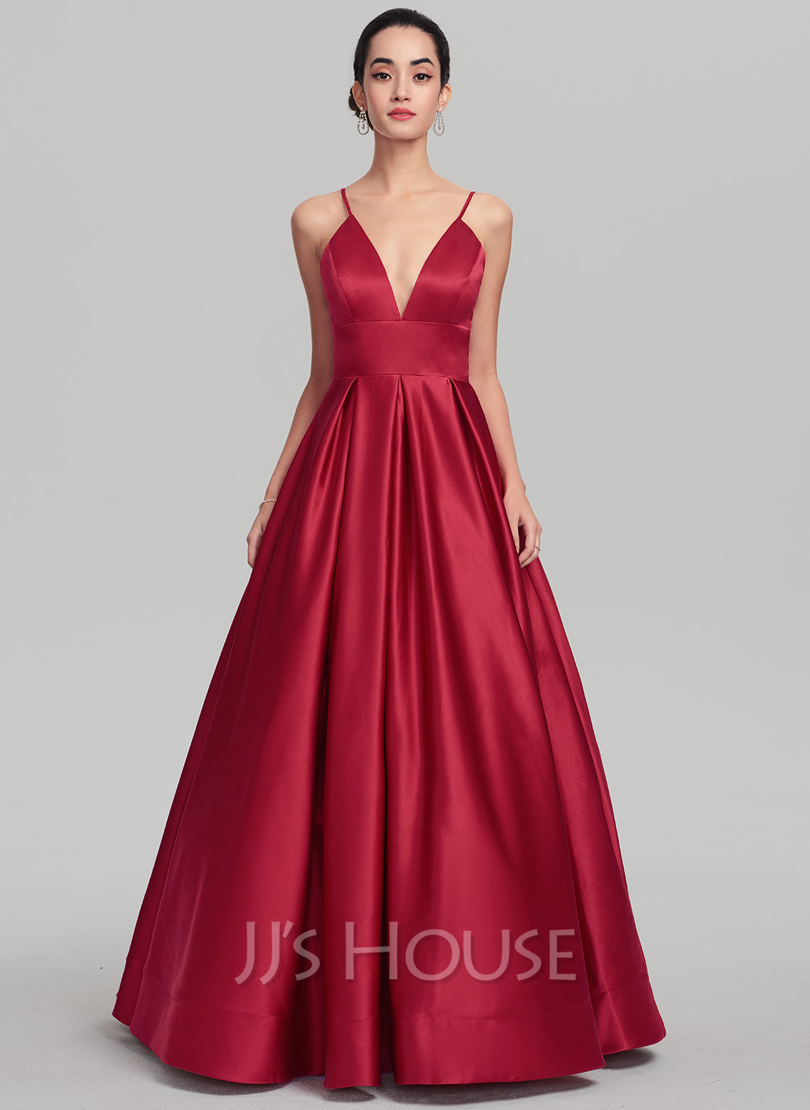 Ball-Gown V-neck Floor-Length Satin Evening Dress (017137361 ...