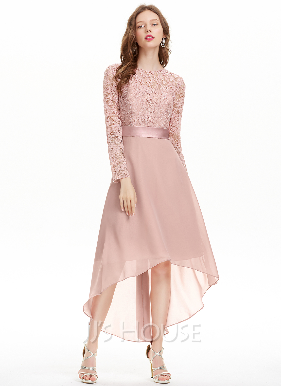 A-Line Scoop Neck Asymmetrical Chiffon Homecoming Dress With Bow(s)