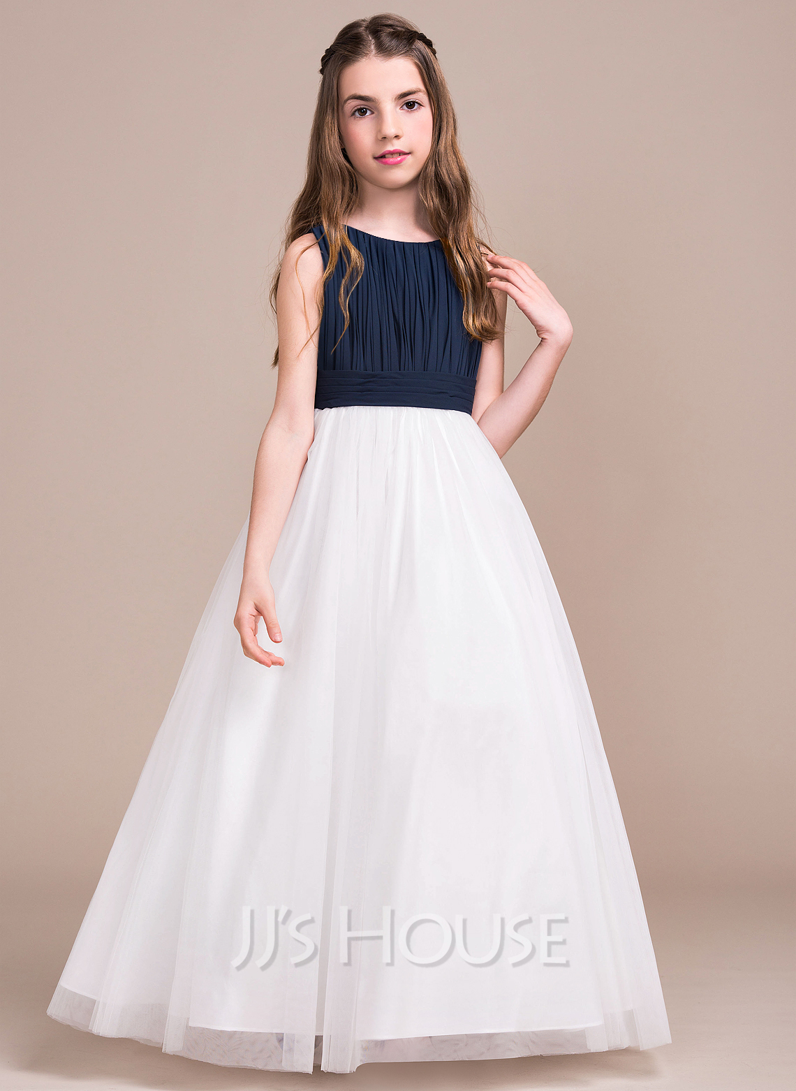 A Line Princess Scoop Neck Floor Length Chiffon Tulle