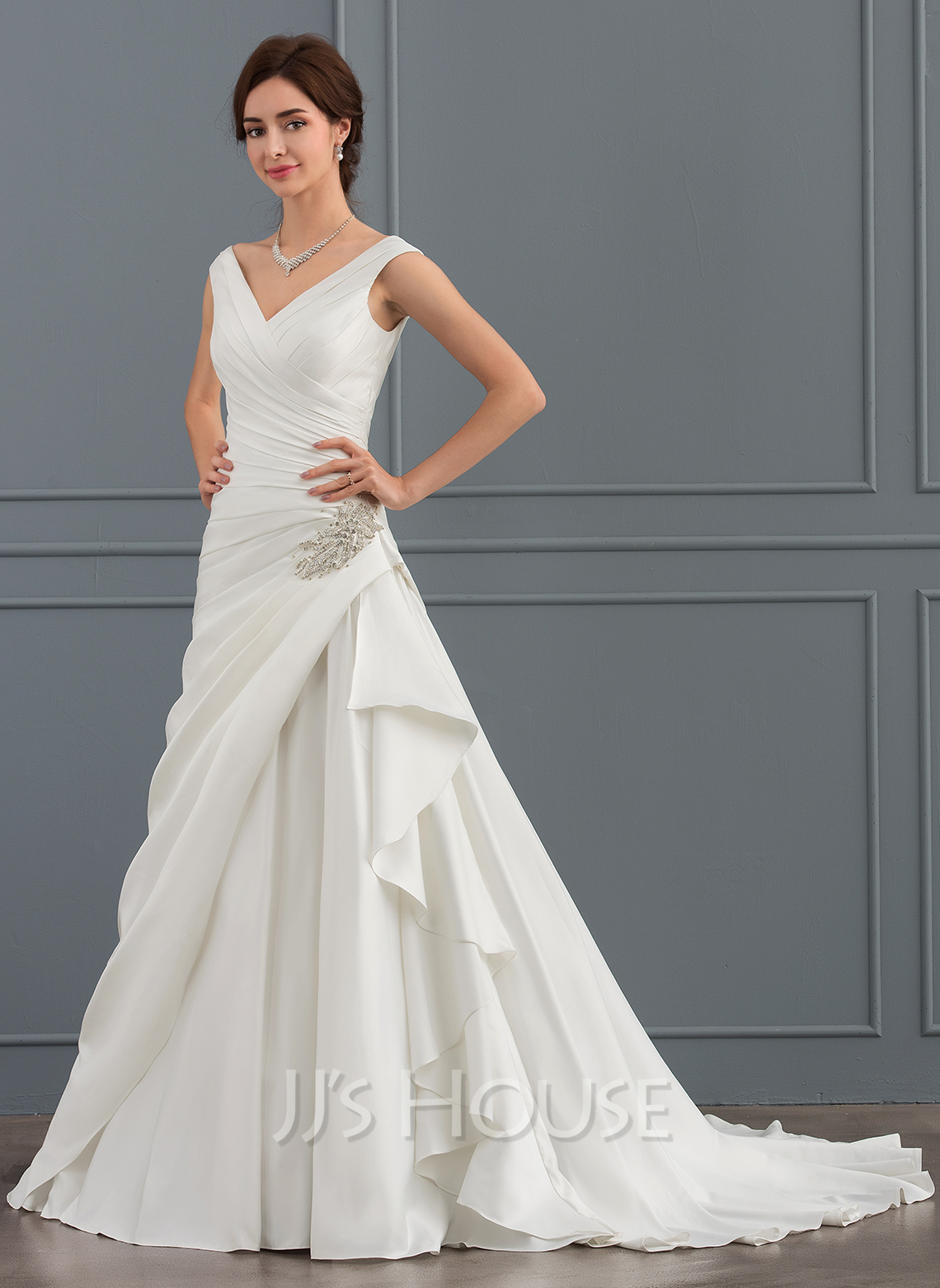 A line princess v neck court train satin wedding dress for V neck satin wedding dress