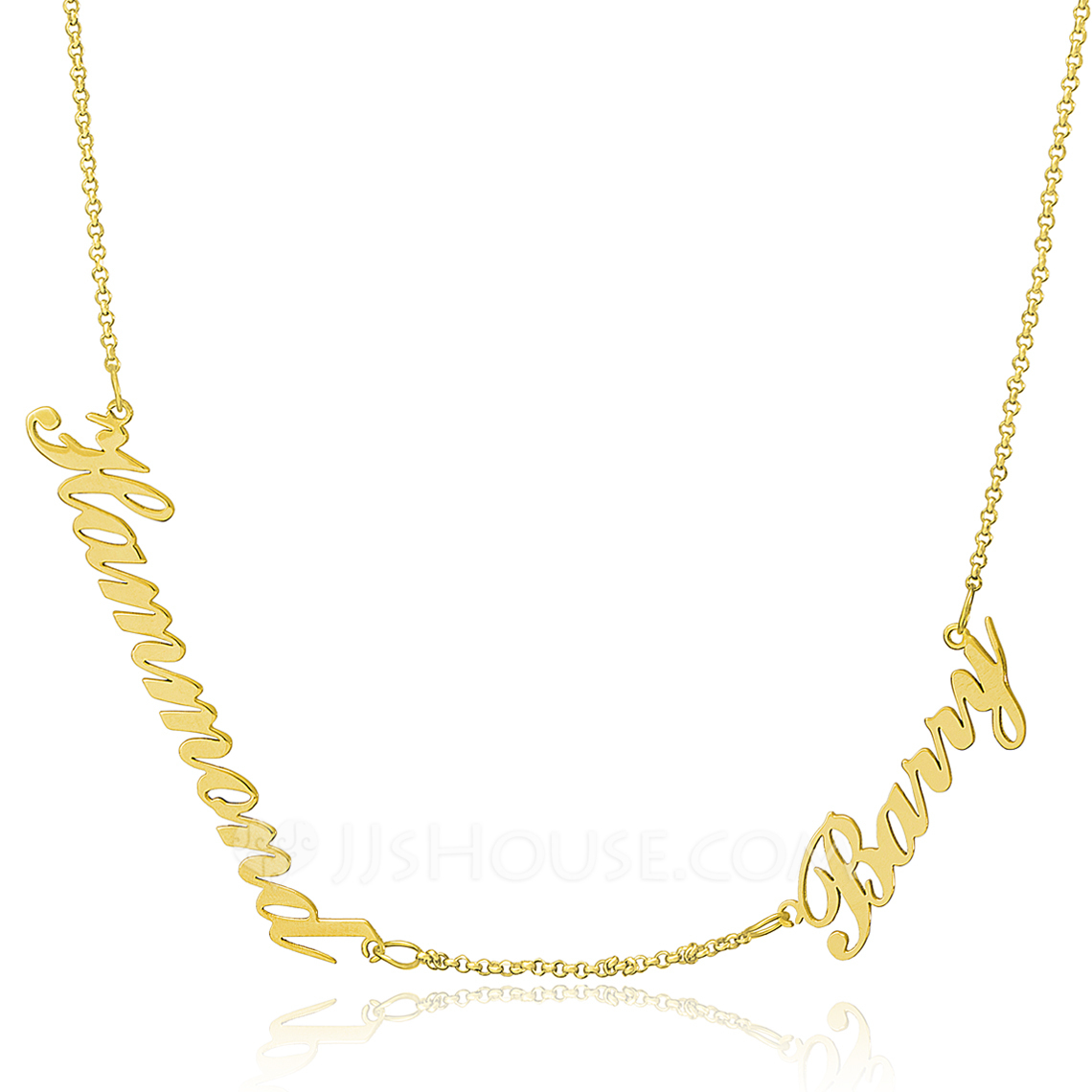 Custom 18k Gold Plated Silver Two Name Necklace - Birthday Gifts Mother's Day Gifts