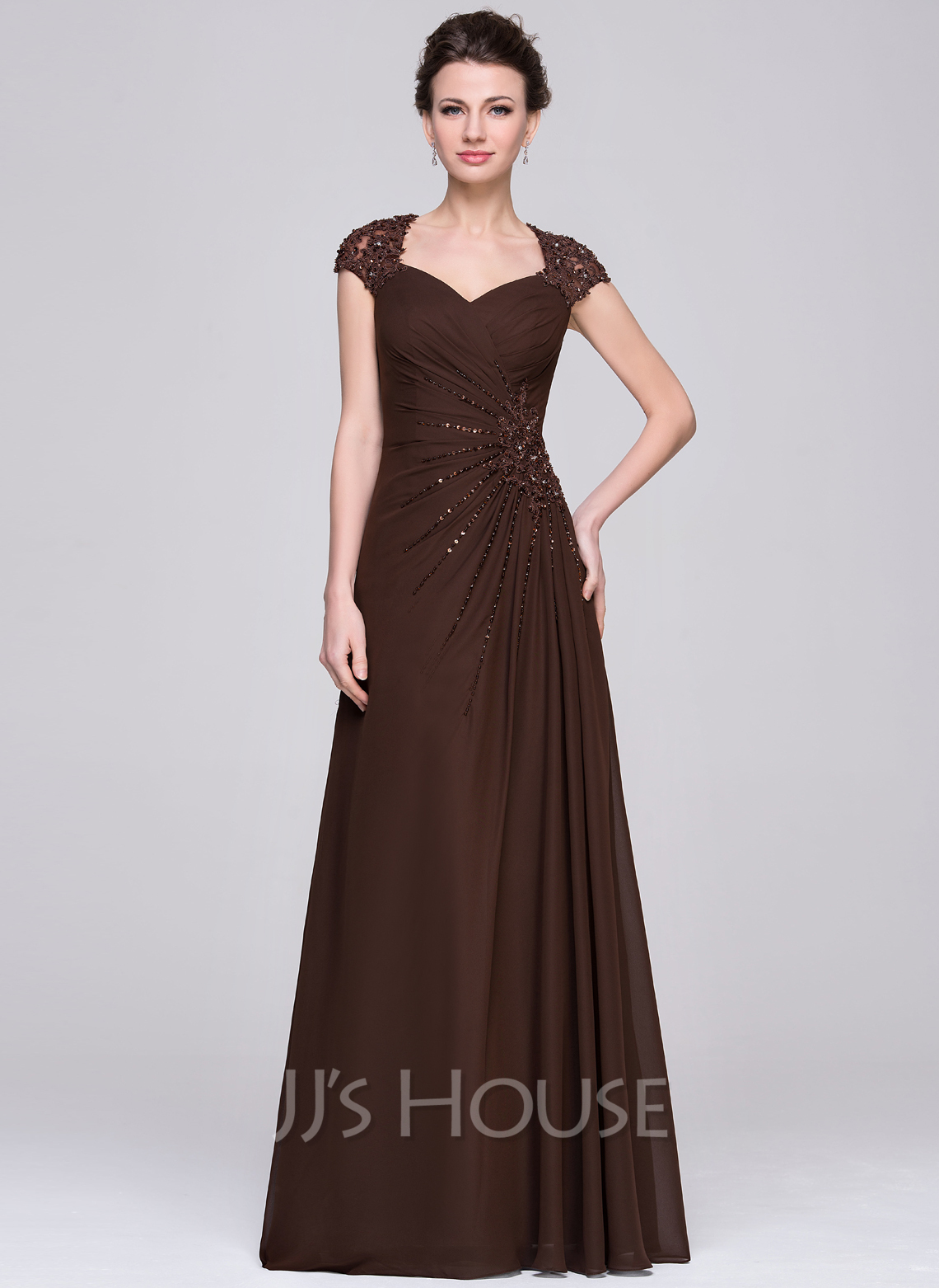 A-Line Sweetheart Floor-Length Chiffon Mother of the Bride Dress With Ruffle Lace Beading Sequins