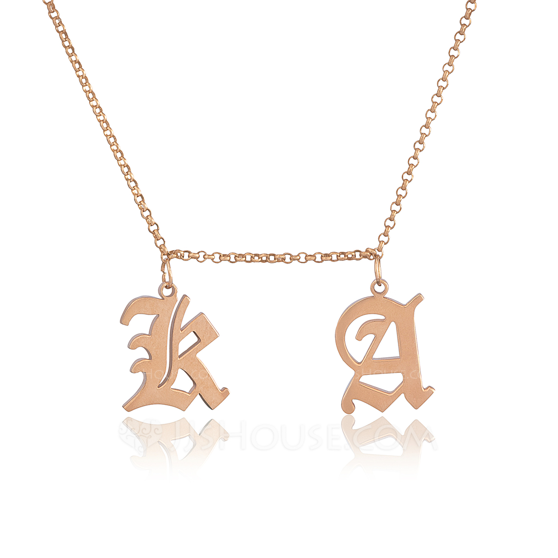 Custom 18k Rose Gold Plated Silver Letter Old English Two Initial Necklace - Birthday Gifts Mother's Day Gifts