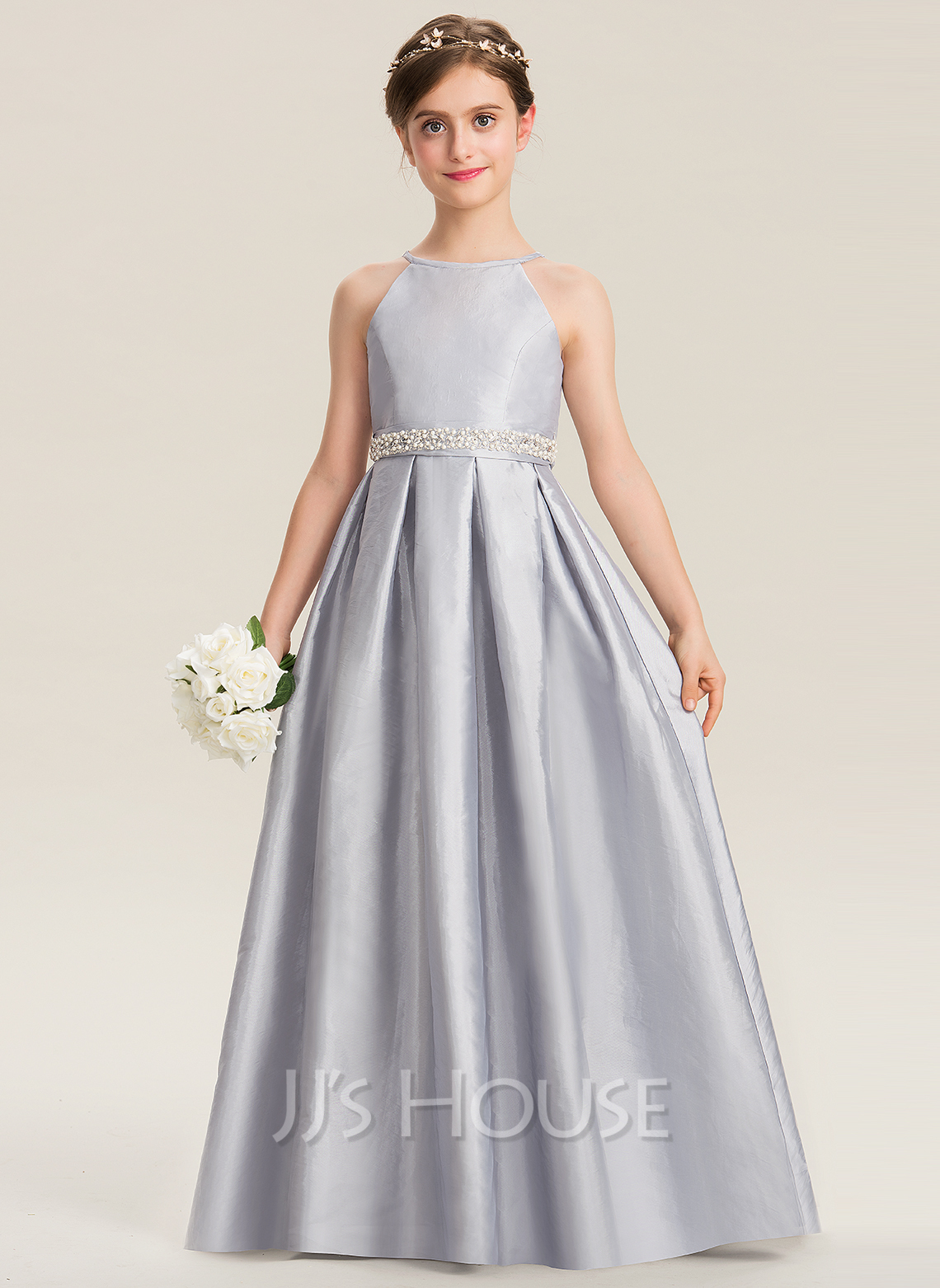 Scoop Neck Floor-Length Taffeta Junior Bridesmaid Dress With Beading Bow(s)