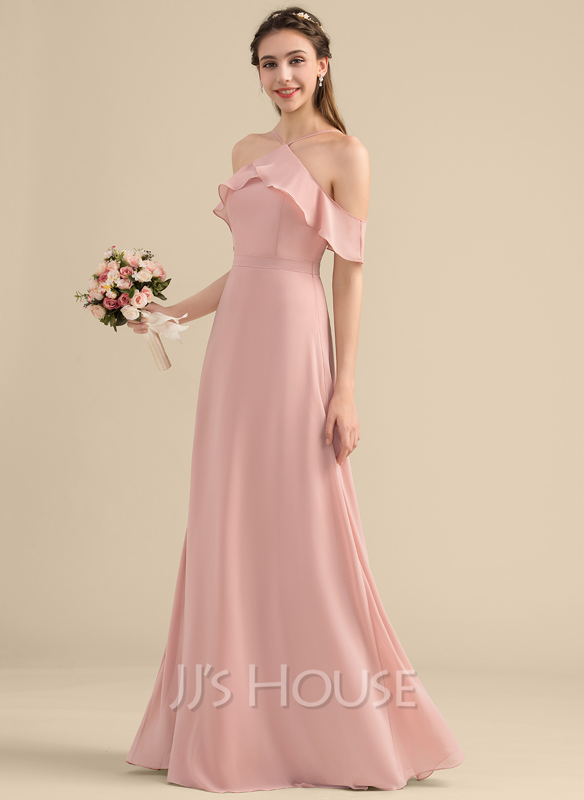 V-neck Floor-Length Chiffon Bridesmaid Dress With Bow(s) Cascading Ruffles