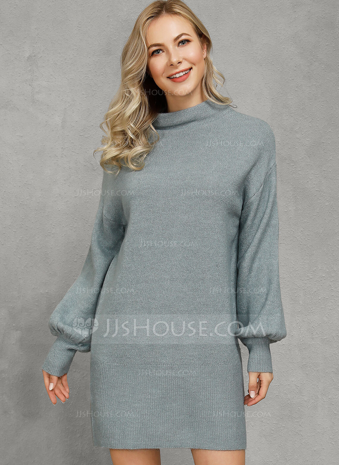 Ribbed Chunky knit Solid Polyester Round Neck Sweater Dresses Sweaters