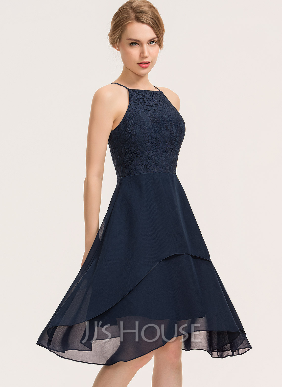 Square Neckline Knee-Length Chiffon Lace Cocktail Dress With Cascading Ruffles