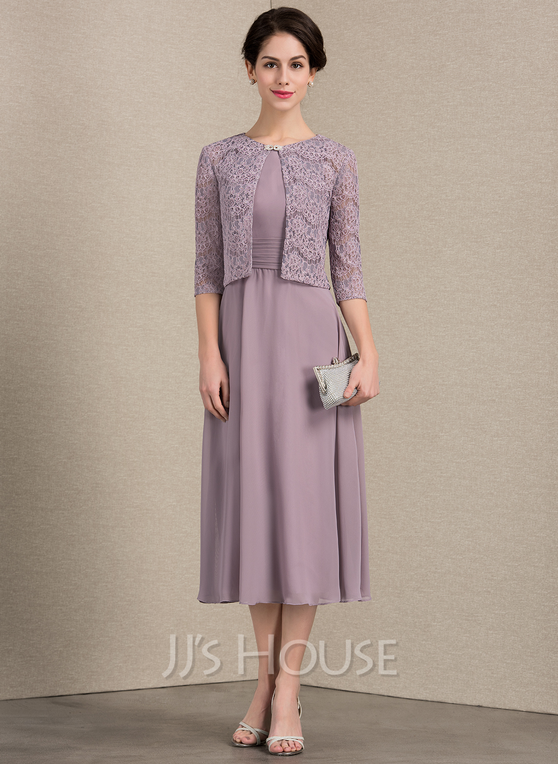 Scoop Neck Tea-Length Chiffon Mother of the Bride Dress With Ruffle