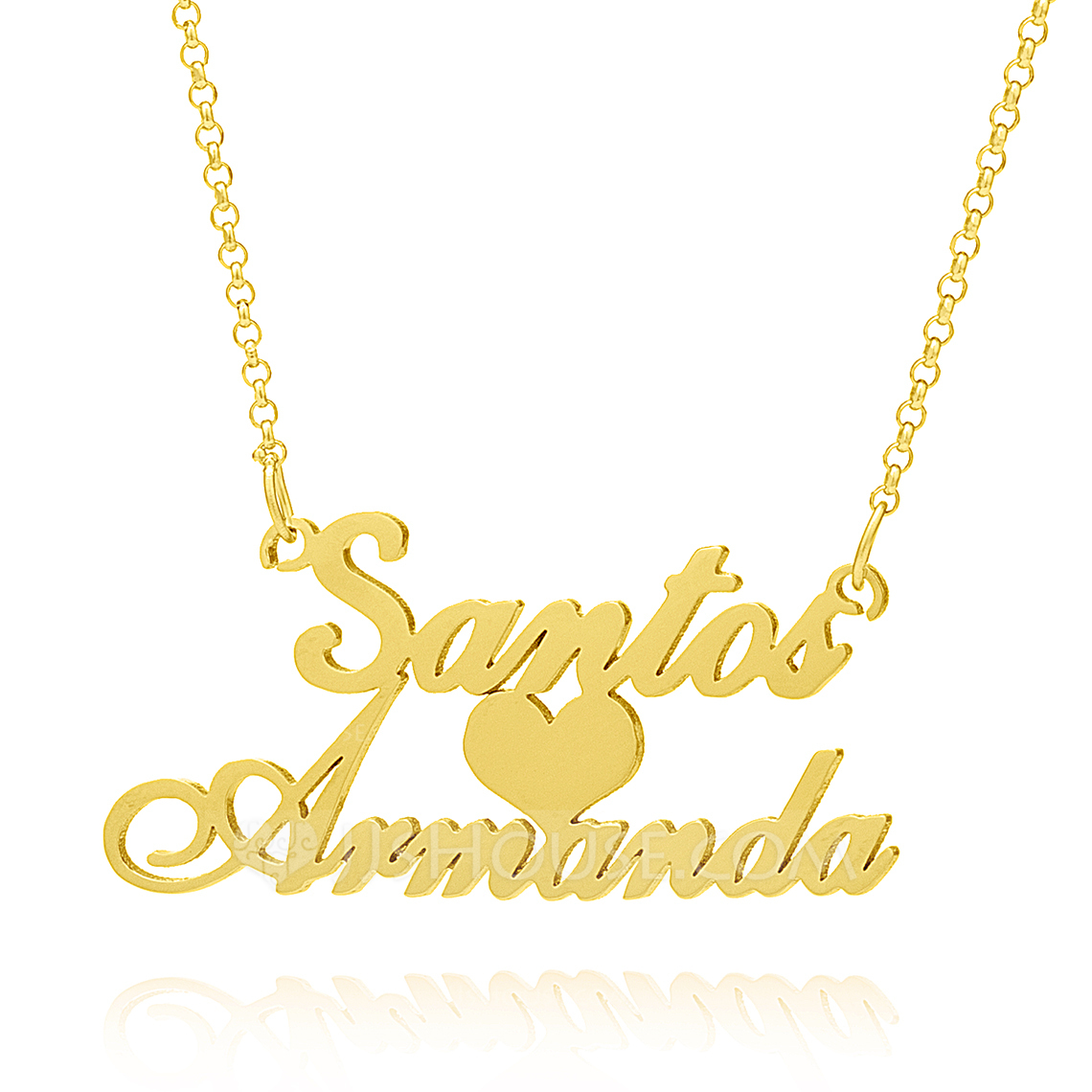 [Free Shipping]Custom 18k Gold Plated Silver Two Name Necklace