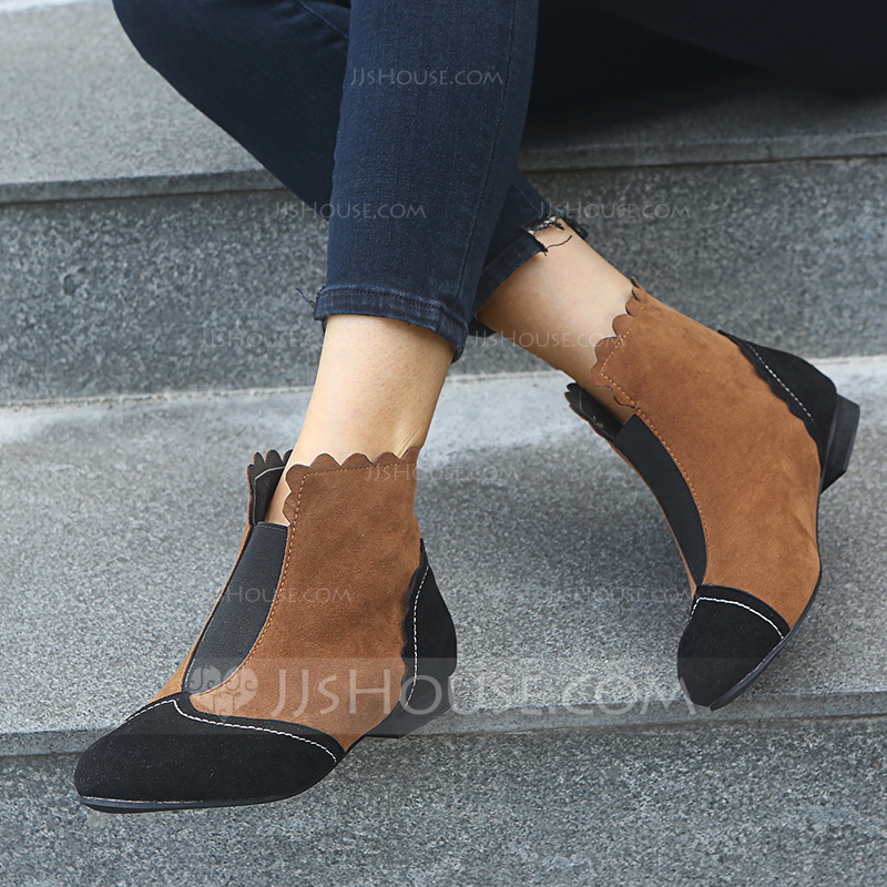 Women's Suede Chunky Heel Boots shoes