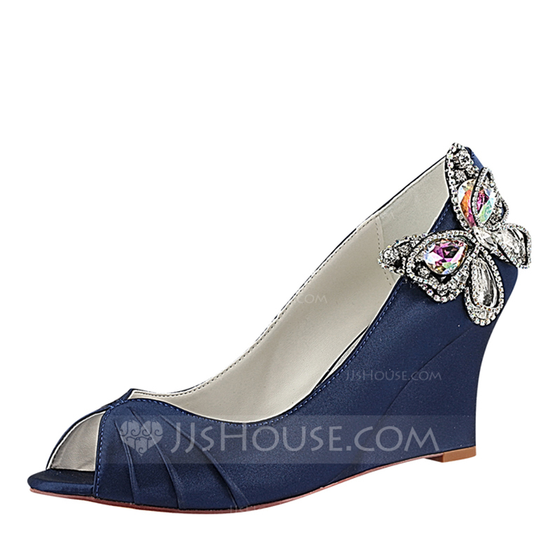 Women's Silk Like Satin Wedge Heel Peep Toe Wedges With Ruffles Crystal