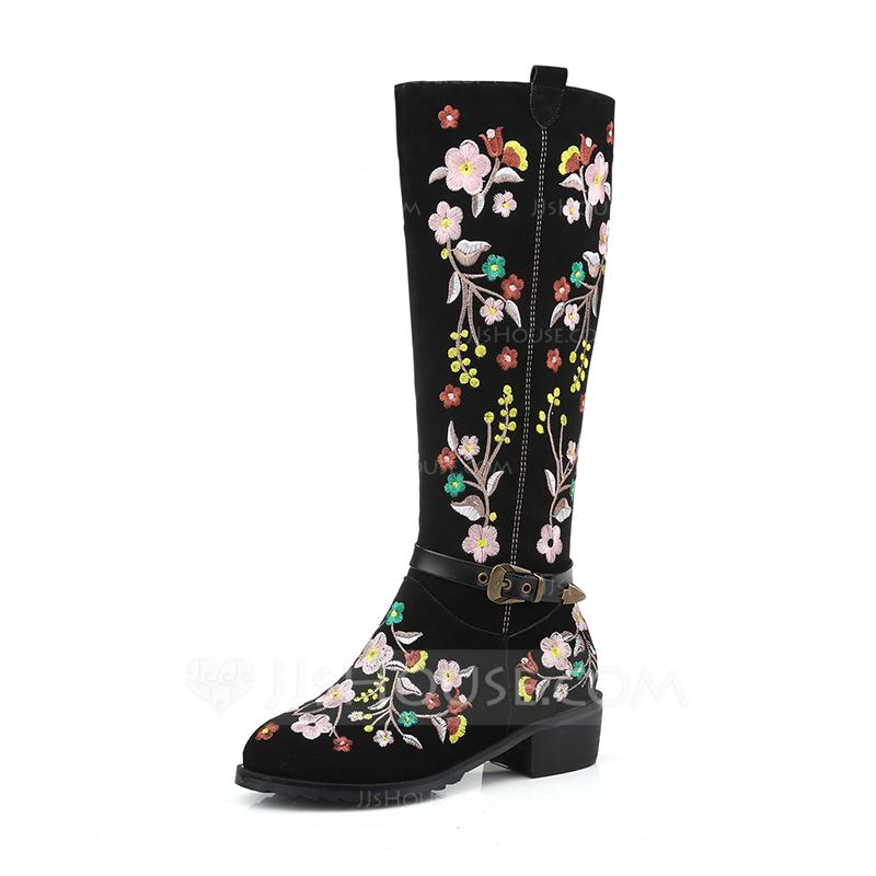 6120b4519 Femmes Vrai cuir Talon bottier Bottes Bottes hautes avec Une fleur  chaussures (088176634)