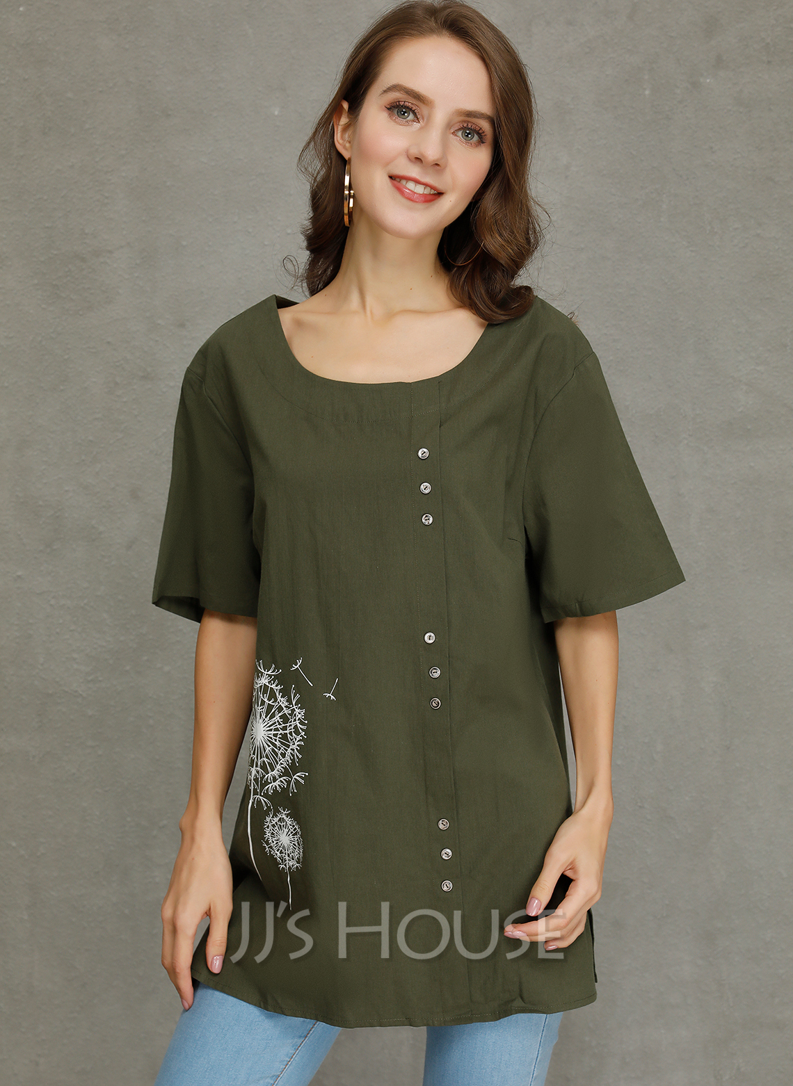 Short Sleeves Cotton Round Neck Blouses