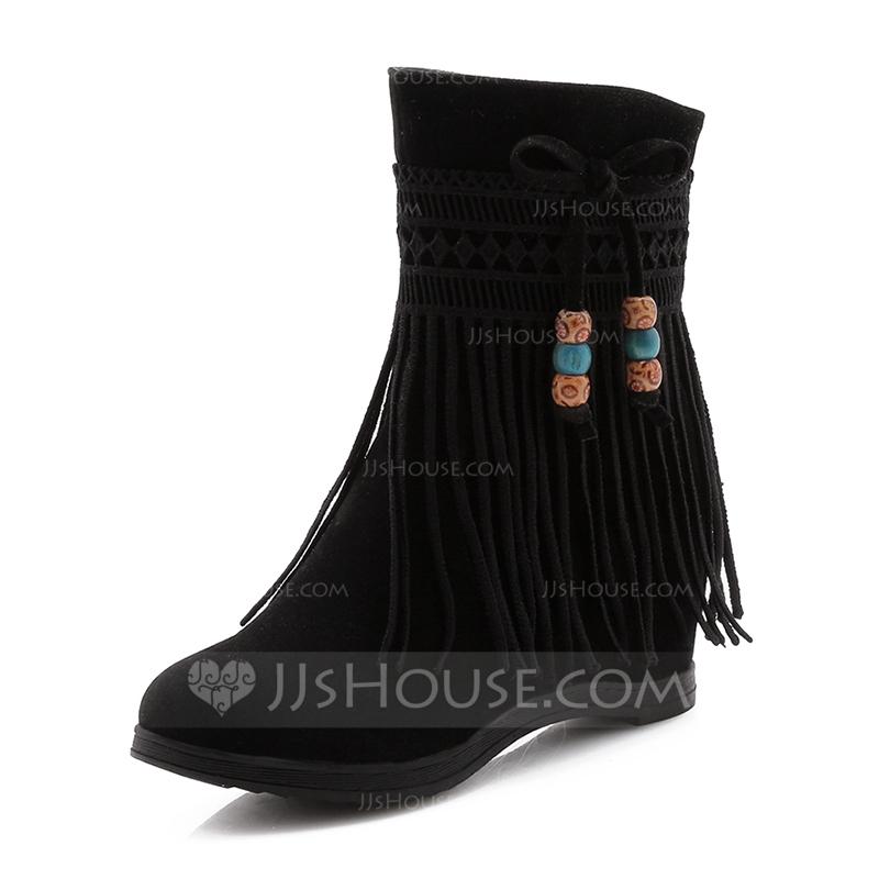 053bb0f02b6 Kvinnor Konstläder Kilklack Stängt Toe Stövlar Boots med Tofs skor. Loading  zoom