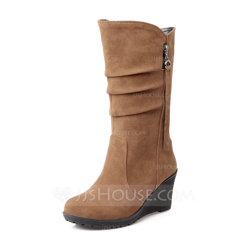 71785b6bf785 Women's Suede Wedge Heel Closed Toe Wedges Boots Mid-Calf Boots With Zipper  shoes. Loading zoom