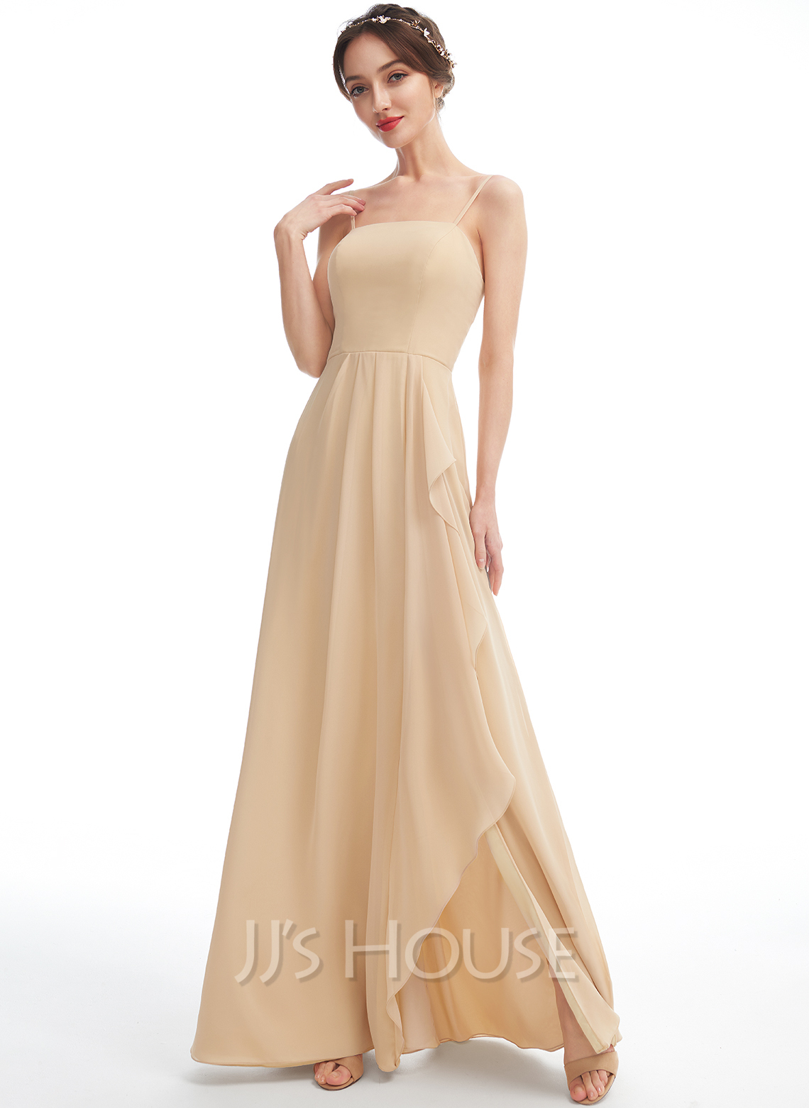 A-Line Square Neckline Floor-Length Bridesmaid Dress With Split Front
