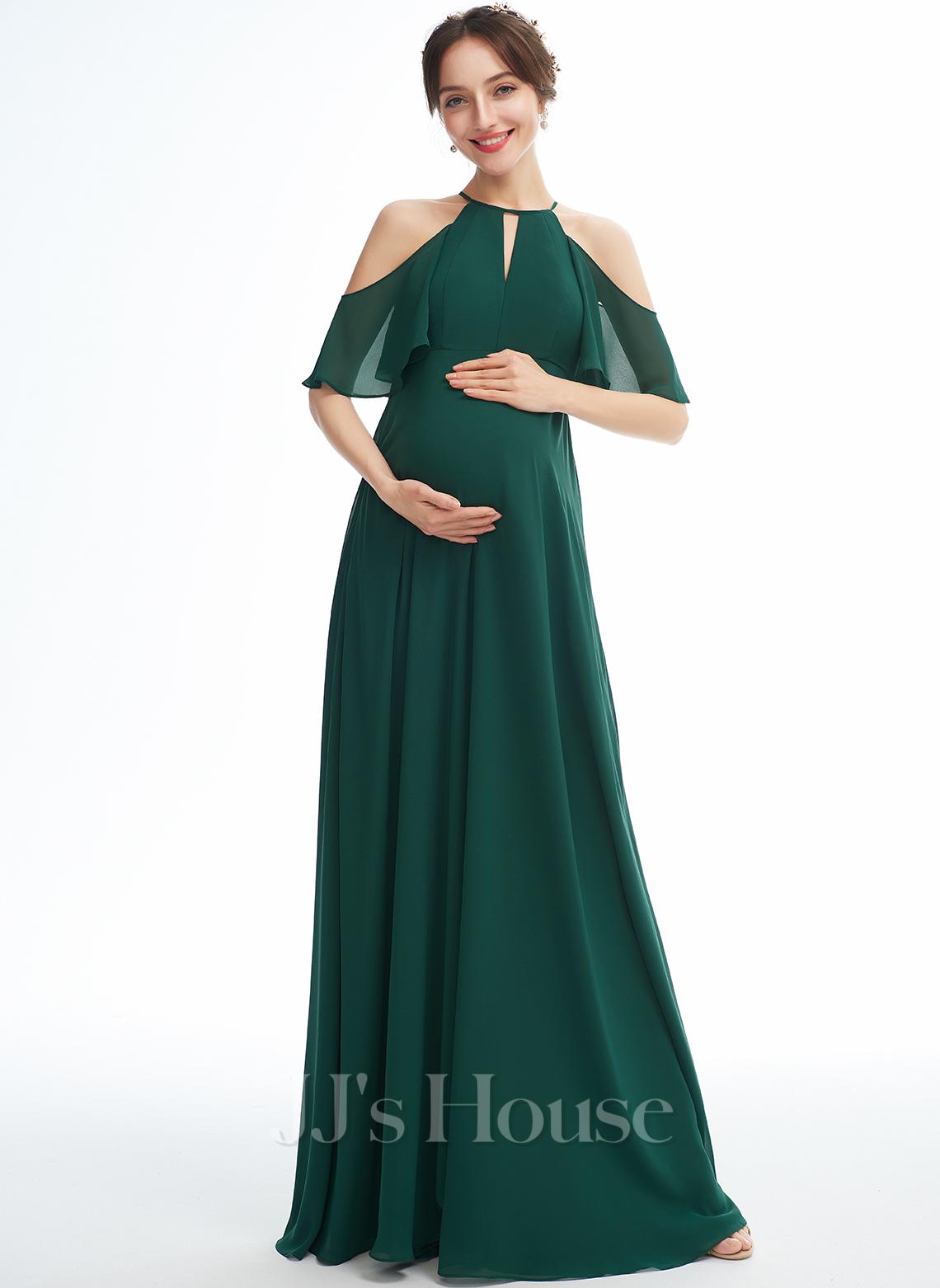 A-line Halter Floor-length Chiffon Maternity Bridesmaid Dress With Ruffle