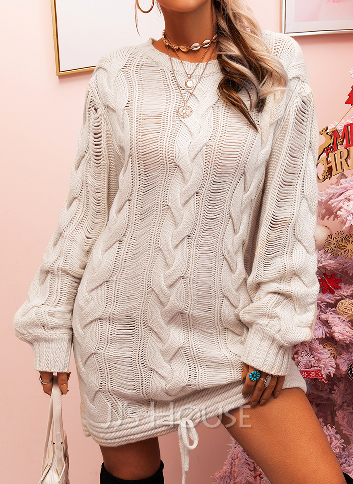 Solid Cable-knit Round Neck Long Sleeves Casual Long Sweater Dress Dresses