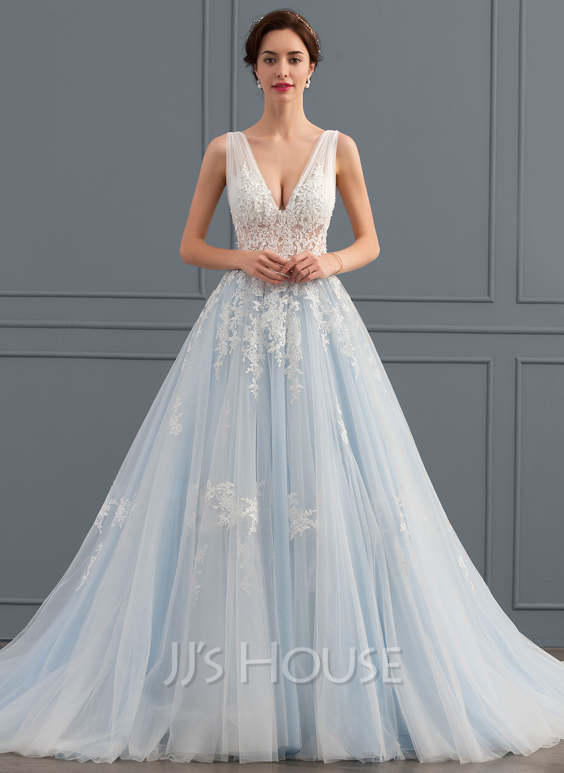 Ball Gown V Neck Chapel Train Tulle Lace Wedding Dress 002134395