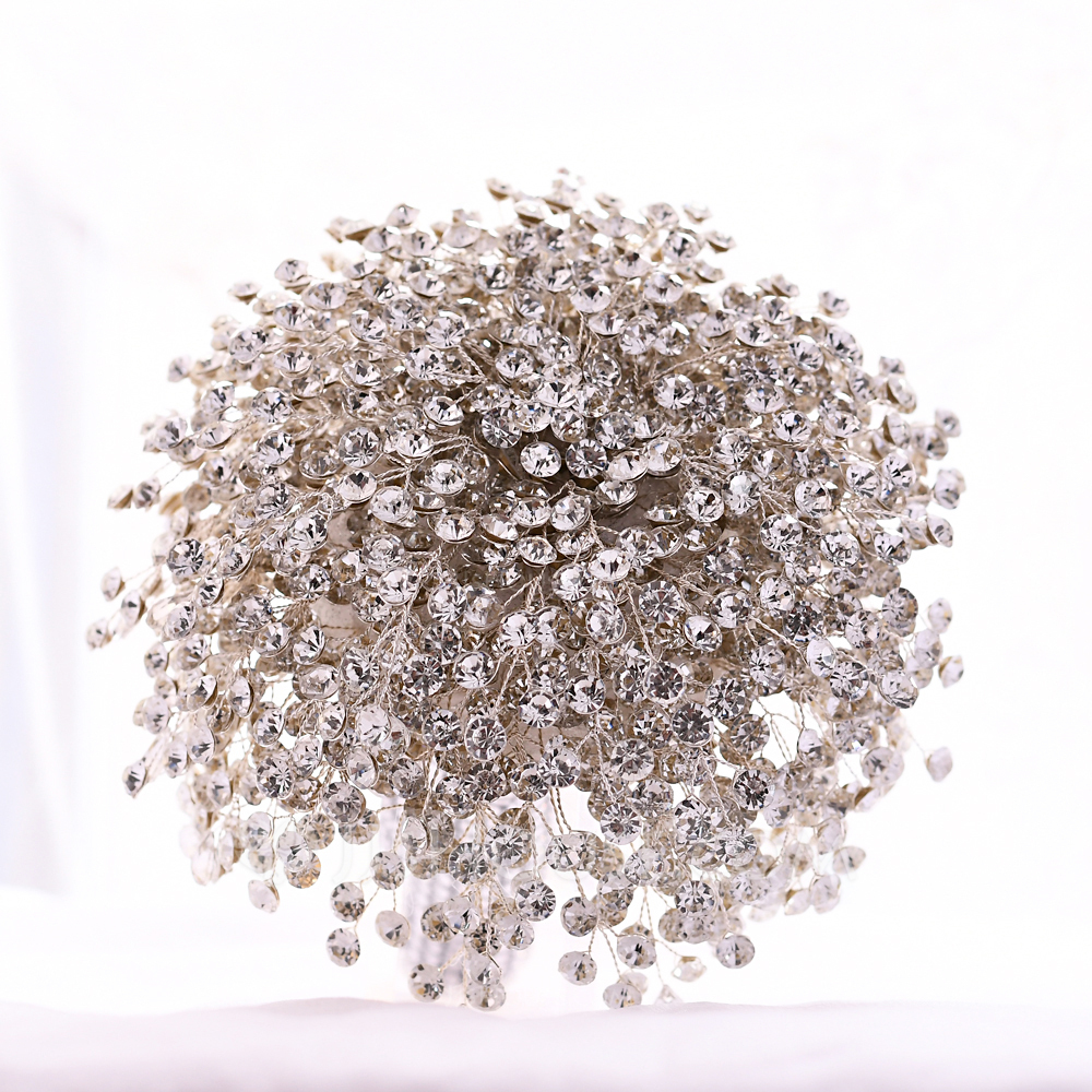Refined Round Rhinestone Bridal Bouquets (Sold in a single piece) - Bridal Bouquets