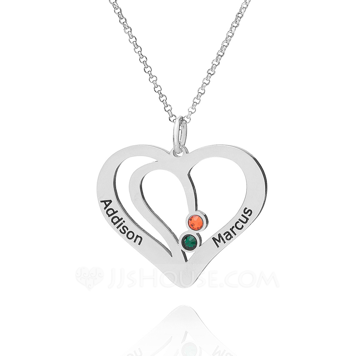 Custom Sterling Silver Double Overlapping Two Heart Necklace Birthstone Necklace With Diamond - Christmas Gifts