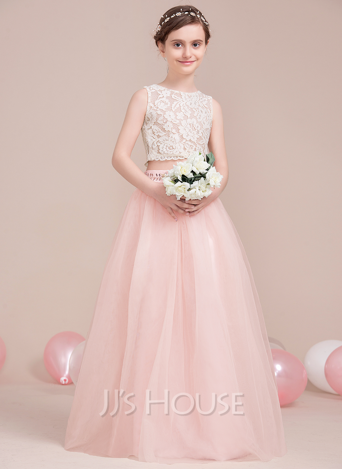 ALinePrincess Scoop Neck FloorLength Tulle Junior Bridesmaid