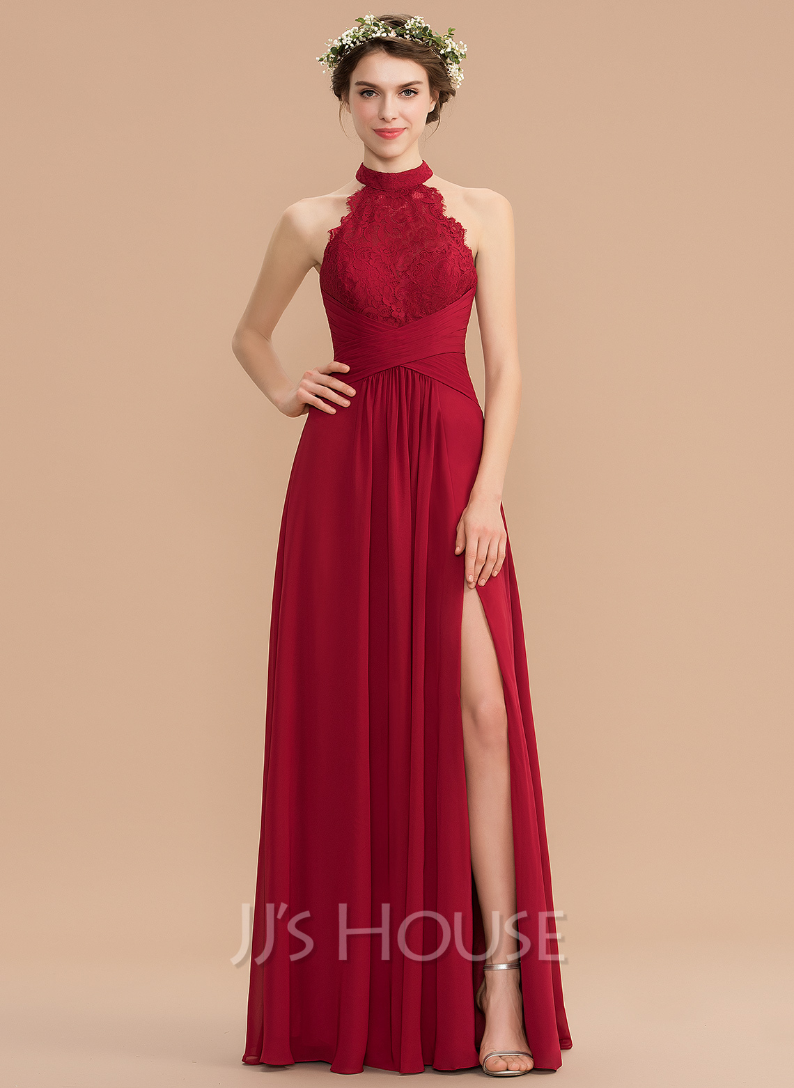 High Neck Floor-Length Chiffon Lace Bridesmaid Dress With Ruffle Split Front