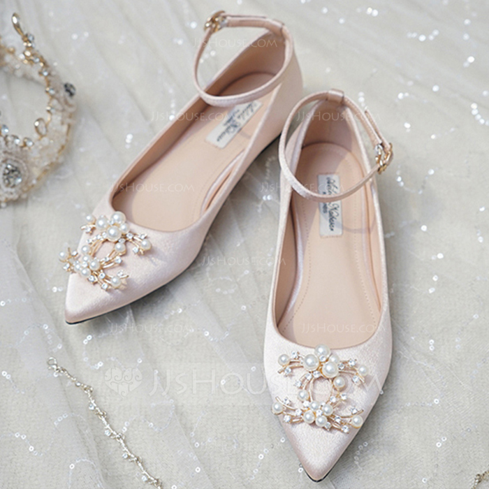 11529d740 Women's Satin Flat Heel Closed Toe Flats With Pearl #201446. Wedding Shoes