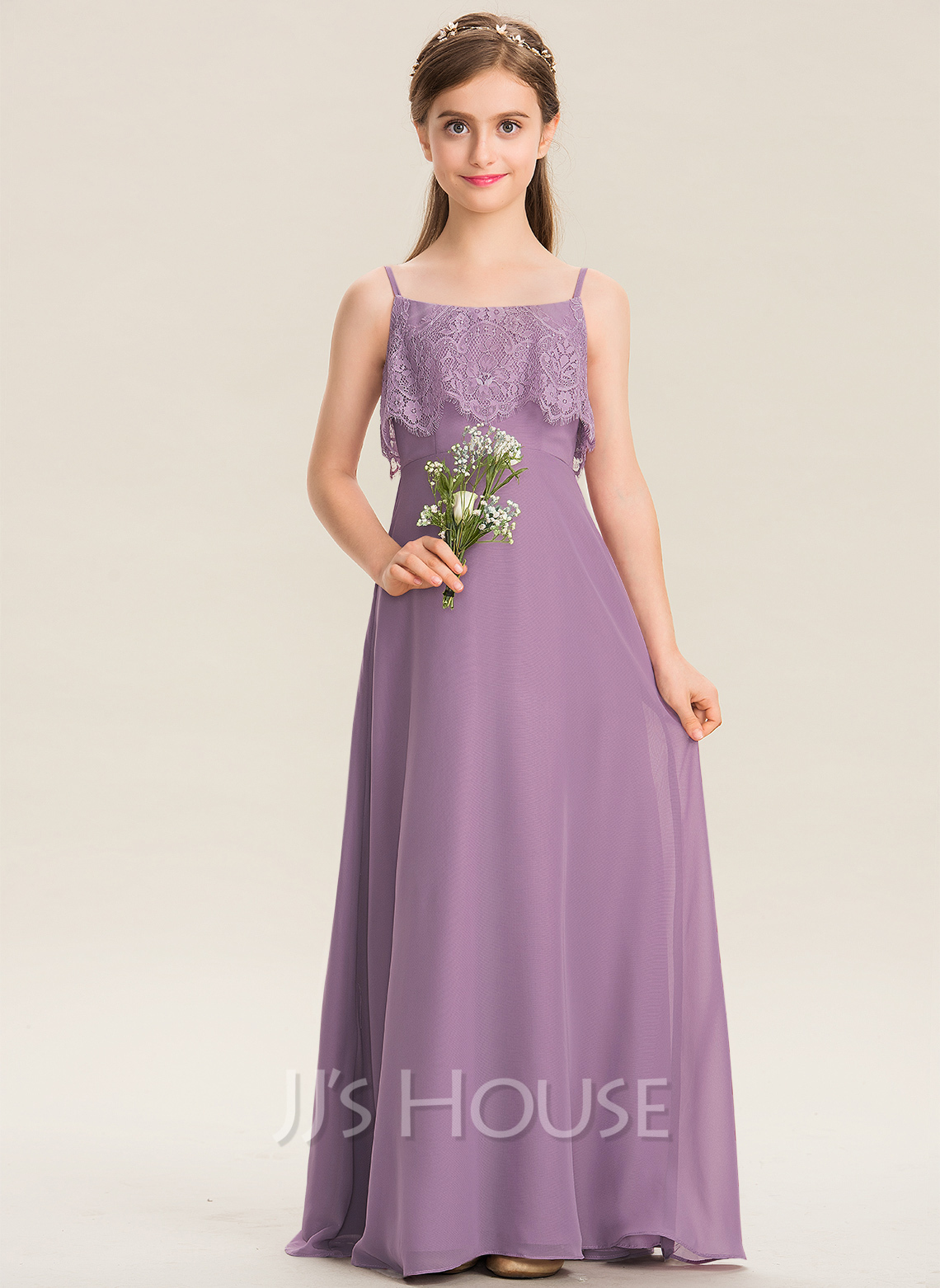 A-Line Square Neckline Floor-Length Chiffon Lace Junior Bridesmaid Dress