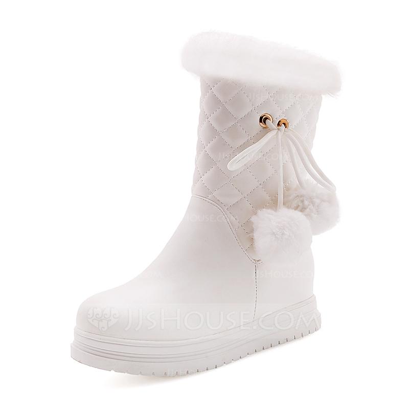 Femmes Similicuir Talon plat Bout fermé Bottes Bottes mi-mollets Bottes  neige avec Fourrure chaussures. Loading zoom 62e3cb17a030