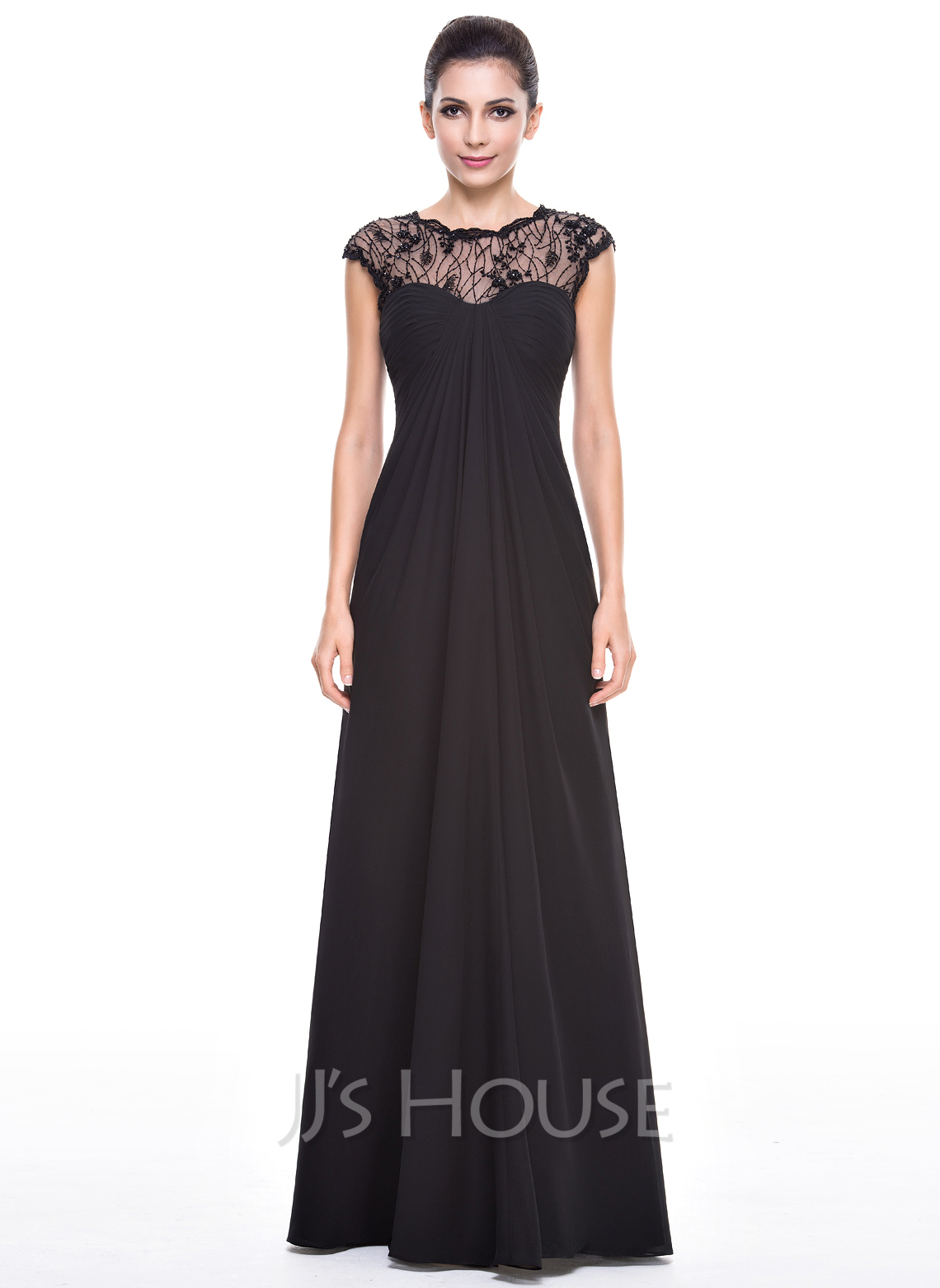 Empire Scoop Neck Floor-Length Chiffon Lace Evening Dress With ...